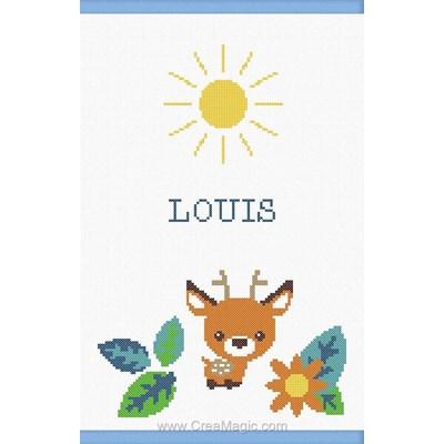 Kit protège carnet de santé enfant bébé cerf au soleil bleu à broder de Princesse