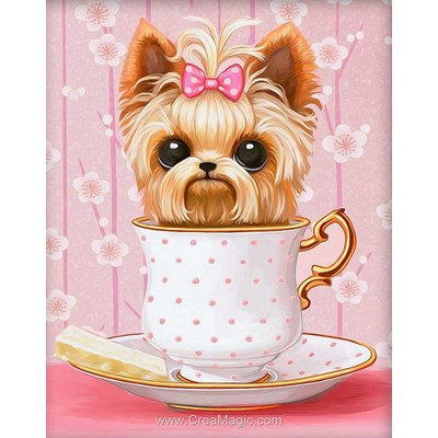 Kit broderie diamant dog in the cup de Diamond Painting