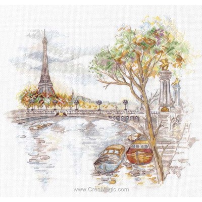 Kit broderie point compté paris en automne - Oven
