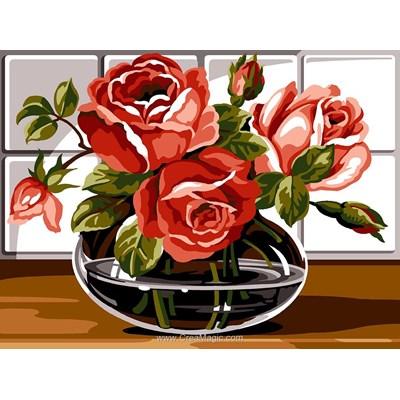 Canevas vase de roses roses - Margot