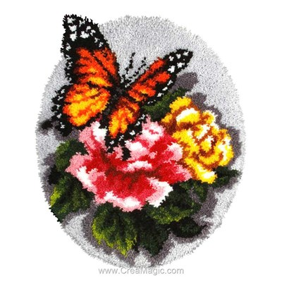 Tapis point noué papillon aux roses - Orchidea