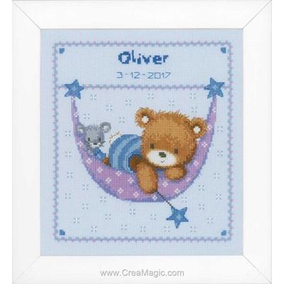 Kit tableau de naissance Vervaco ours dans le hamac - garçon