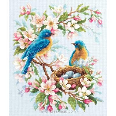 Modèle broderie le nid d'oiseau dans l'aubépine - Magic Needle