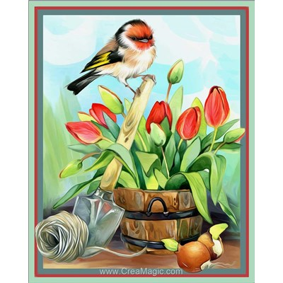 Broderie diamant chardonneret et tulipes - Diamond Painting