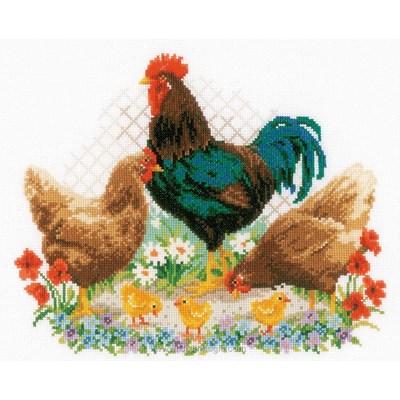 Broderie au point de croix compté le coq et les poules - Vervaco