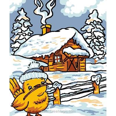 Kit canevas débutant Luc Création poussin et le chalet en hiver