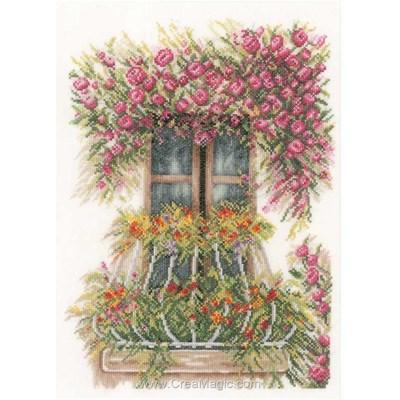 Balcon de fleurs kit broderie point compté - Lanarte