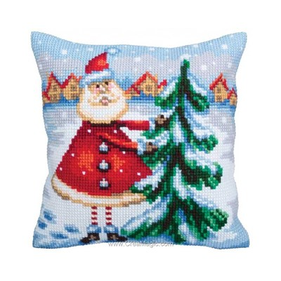 Coussin père noël en laponie de Collection d'art au point de croix