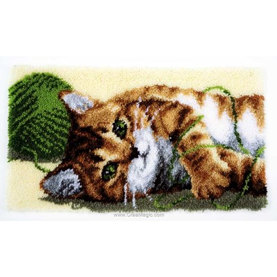 Tapis point noue chat et pelote de laine verte - Vervaco