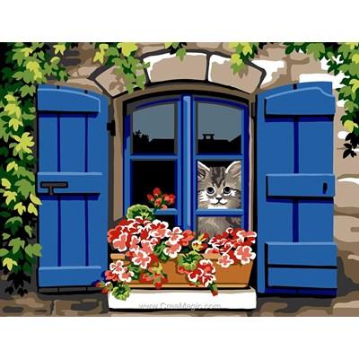 Margot canevas chat à la fenêtre aux volets bleus