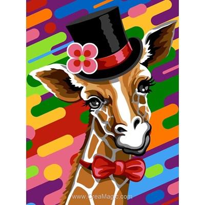 Canevas girafe au chapeau chic de Margot