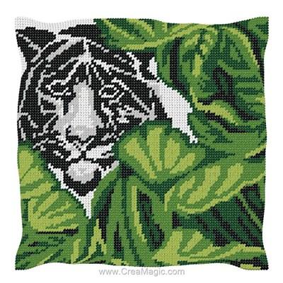 Kit coussin au demi point Luc Création tigre blanc
