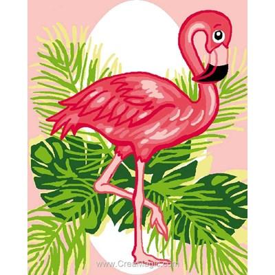 Kit canevas Luc Création pour débutant flamant rose