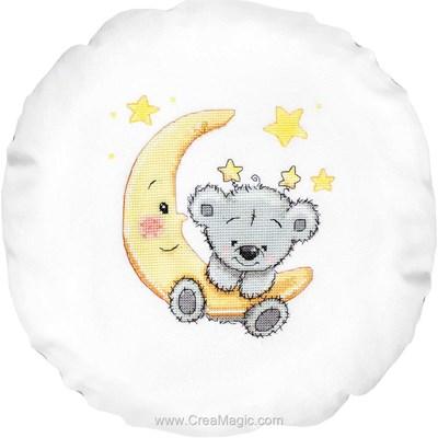 Kit coussin mon ourson dans la lune à broder au point de croix compté Luca-S