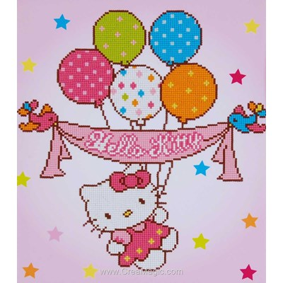 Kit broderie diamant hello kitty avec ballons - Vervaco