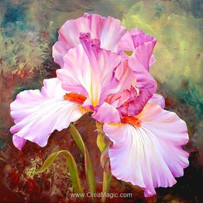 Kit broderie diamant pink irises - Diamond Painting