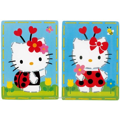 Carte à broder enfants Vervaco hello kitty coccinelle - lot 2