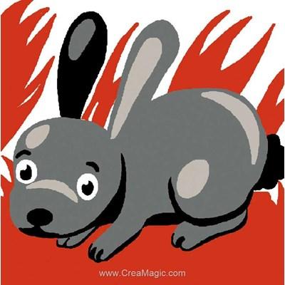 Kit canevas Luc Création pour enfant lapin gris