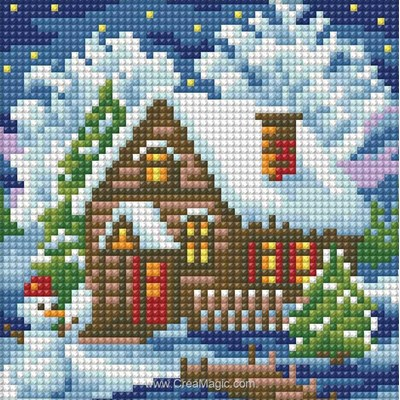 Kit broderie diamant Diamond Painting winter house de Diamond Painting