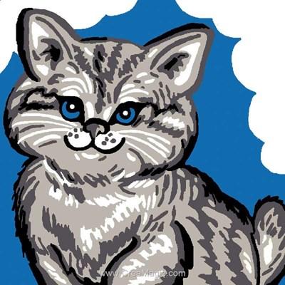 Kit canevas débutant Luc Création chat yeux bleus