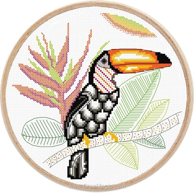 Kit à broder de Marie Coeur au point de croix monde en couleur, le toucan