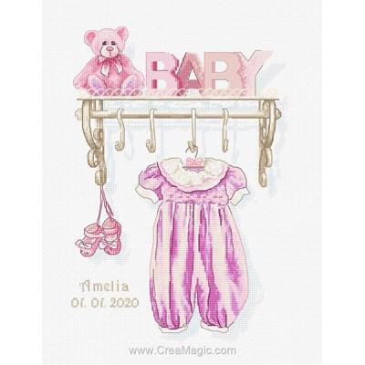 Baby rose broderie tableau prénom - Luca-S