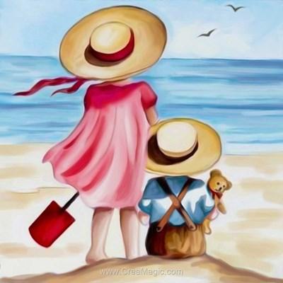 Broderie diamant fraternité sur la plage - Diamond Painting