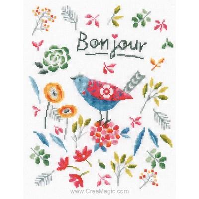 Kit broderie bonjour de l'oisillon et fleurs colorées de Vervaco