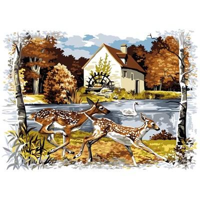 Les biches en automne - chasse canevas - SEG