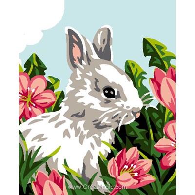 Kit canevas pour enfants lapin dns les fleurs de Luc Création