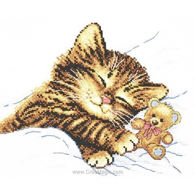 Modèle point de croix Oven chaton et son doudou