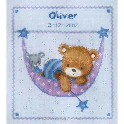 Kit broderie petit ours en bleu dans le hamac - Vervaco