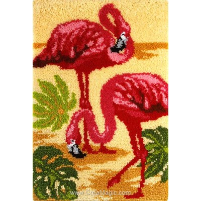 Tapis point noue flamants roses - Orchidea