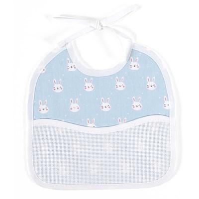 Bavoir bébé lapin bleu - 3 mois à broder de DMC