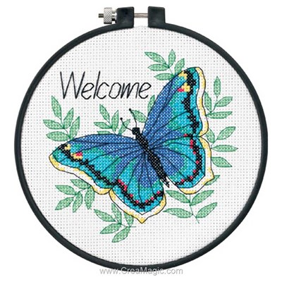 Modèle broderie point de croix Dimensions welcome butterfly