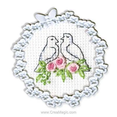 Couple de colombes mini kit à broder - RTO