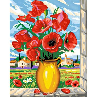 Kit broderie diamant Diamond Painting poppies on the window