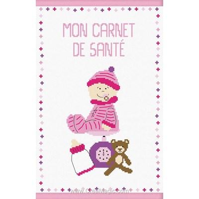 Kit protège carnet de santé pour bébé bébé grandit rose à broder - Princesse
