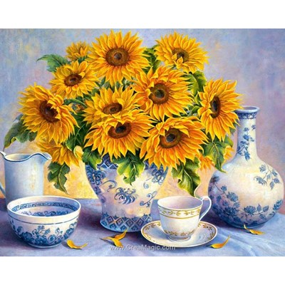 Kit broderie diamant sunflower bouquet - Diamond Painting