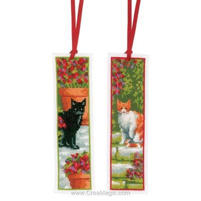 Marque-page à broder chat noir et chat roux - lot de 2 Vervaco
