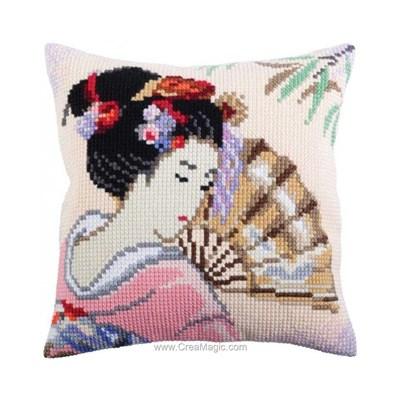 Kit coussin Collection d'art japonaise à l'évantail au point de croix