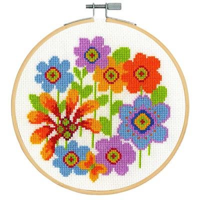 Point de croix compté fleurs lumineuses - DMC