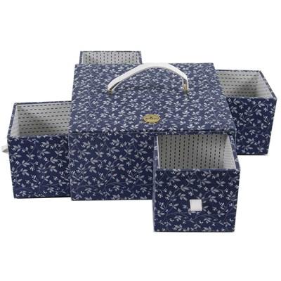 Boite à couture DMC en tissus marina - 4 tiroirs encastrés