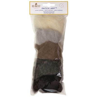 Pack de laine cardée pour motif chien et chat patch art - DMC