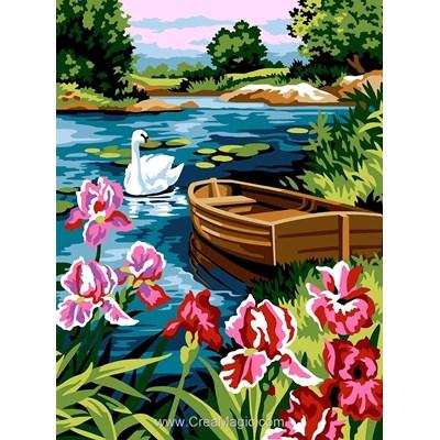Les iris du lac au cygne canevas - SEG