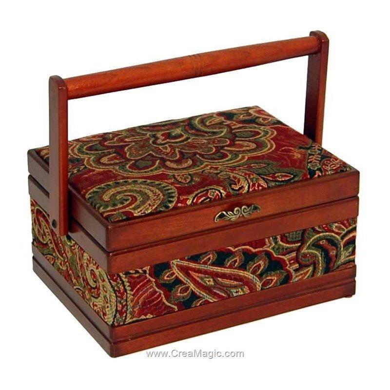 Boite couture en bois et tissu royal prestige wb206 for Boite a couture sur pieds bois