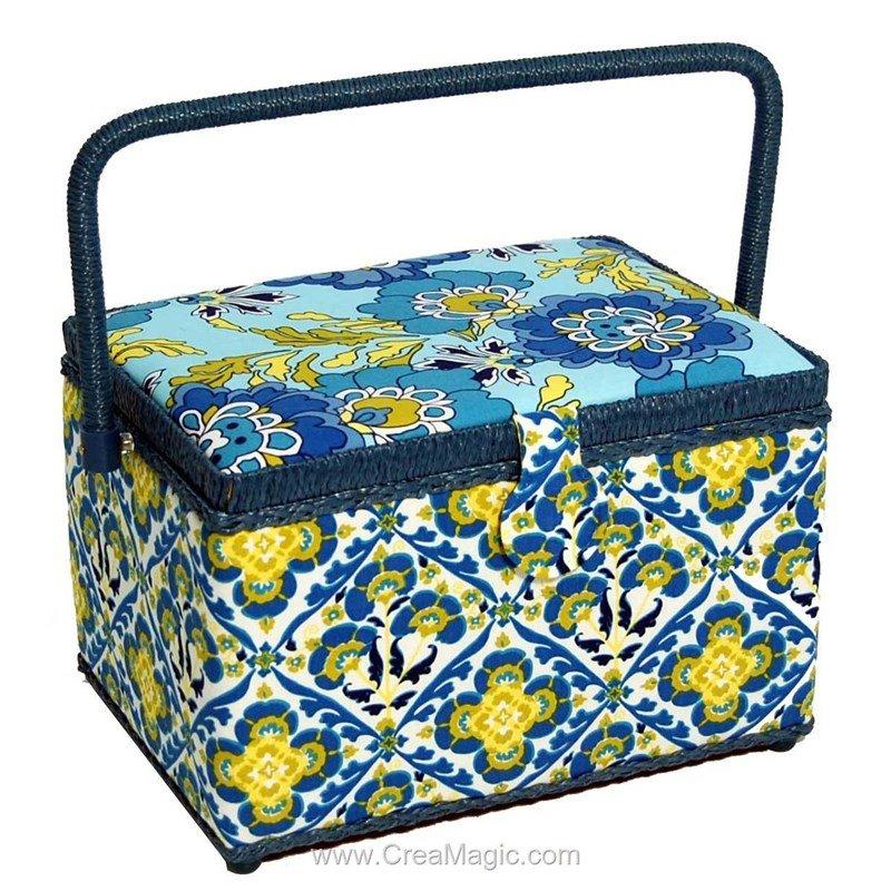 Boite couture rectangle g om trie bleue 966wb for Boite de rangement mercerie