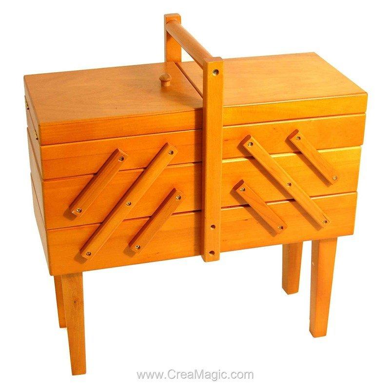 Tavailleuse en bois sur pied prestige couleur fonc for Boite a couture sur pieds bois