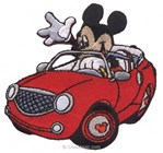 Motif thermocollant Mickey Et Sa Voiture - MotifsThermocollants