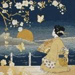 broderie au point de croix Kimono Sunset - Maia